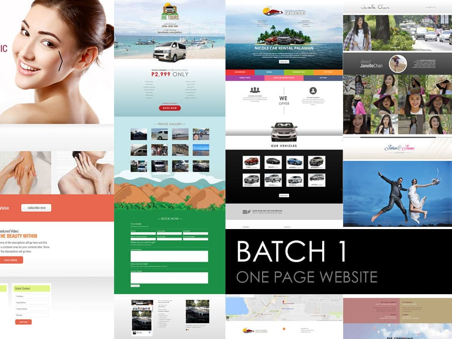 One Page Web Designs Batch 1